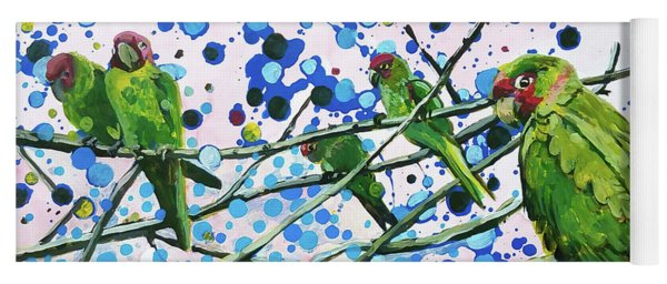Blue Dot Parakeets Yoga Mat