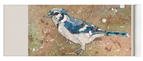 Yoga Mat featuring the painting Blue Jay by Ruth Kamenev