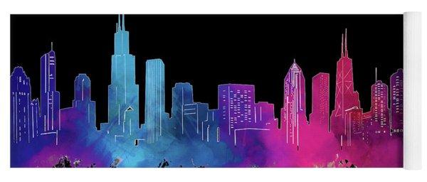 Chicago Skyline Watercolor 3 Yoga Mat