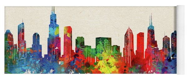 Chicago Skyline Watercolor Yoga Mat