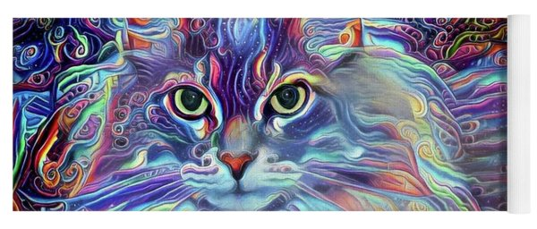 Colorful Long Haired Cat Art Yoga Mat