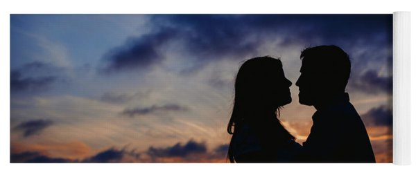 Couple With Cloud Sky Backlight Yoga Mat