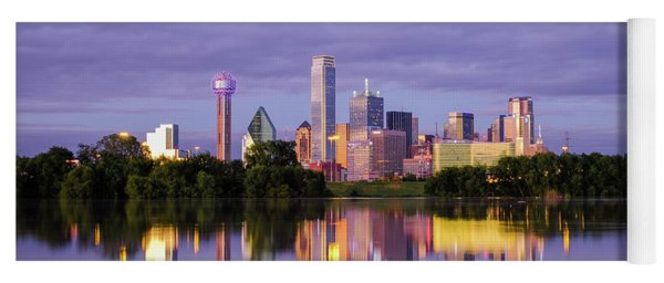 Dallas Texas Cityscape Reflection Yoga Mat