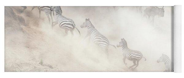 Dramatic Dusty Great Migration In Kenya Yoga Mat