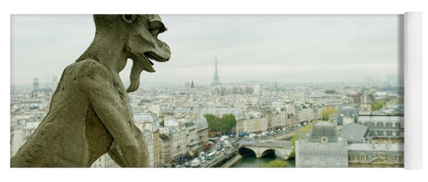 Gargoyle Statue At A Cathedral, Notre Yoga Mat