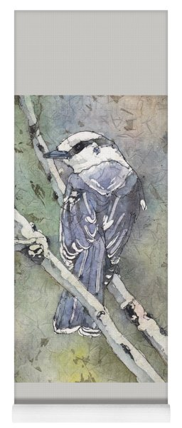 Yoga Mat featuring the painting Grey Jay by Ruth Kamenev