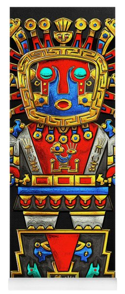 Incan Gods - The Great Creator Viracocha On Black Canvas Yoga Mat