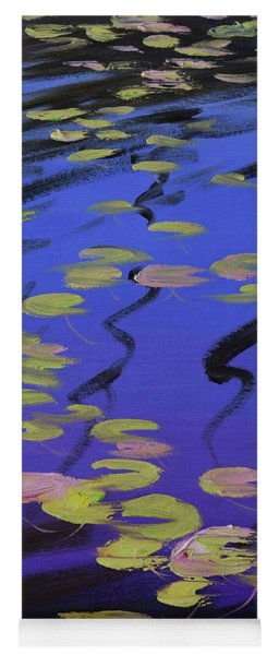 Lilies On Blue Water Yoga Mat