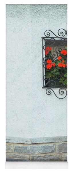 Ornate Window With Geraniums Yoga Mat