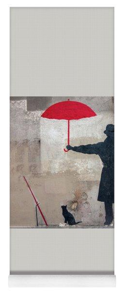Paris Graffiti Man With Red Umbrella Yoga Mat