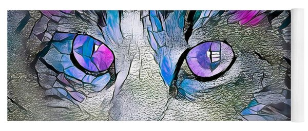 Purple Stained Glass Kitty Yoga Mat