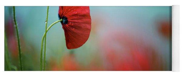 Red Corn Poppy Flowers Yoga Mat