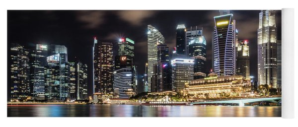 Singapore By Night Yoga Mat