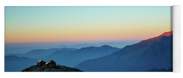 Sunrise Above Mountain In Valley Himalayas Mountains Mardi Himal Yoga Mat