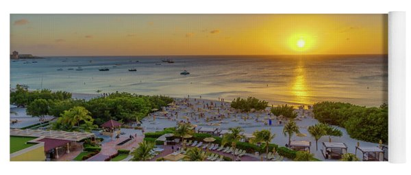 Sunset Over Aruba Yoga Mat