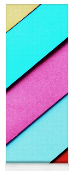 Trendy Pastel Colors In Geometry Shape Flat Lay. Colorful Rainbo Yoga Mat