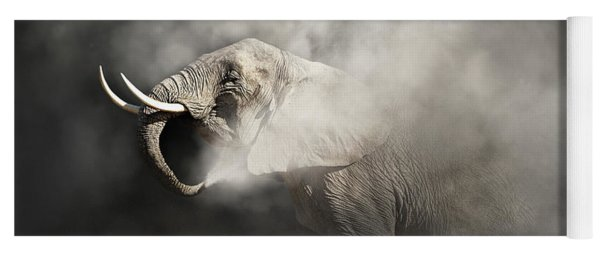 Vulnerable African Elephant In The Dust Yoga Mat