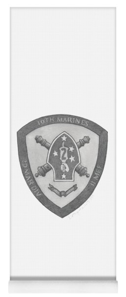 Yoga Mat featuring the painting 10th Marines Crest by Betsy Hackett