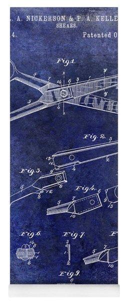 1894 Barbers Shears Patent Blue Yoga Mat