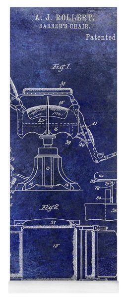 1898 Barber Chair Patent Blue Yoga Mat