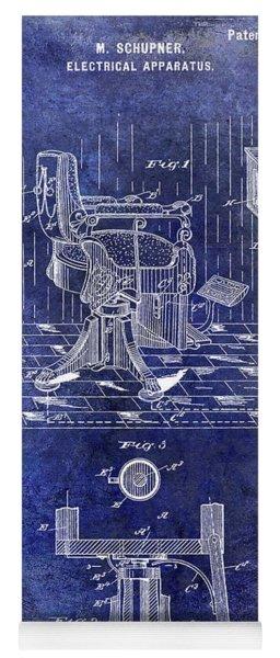 1900 Barber Chair Patent Blue Yoga Mat