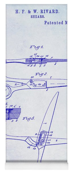 1906 Barbers Shears Patent Blueprint Yoga Mat