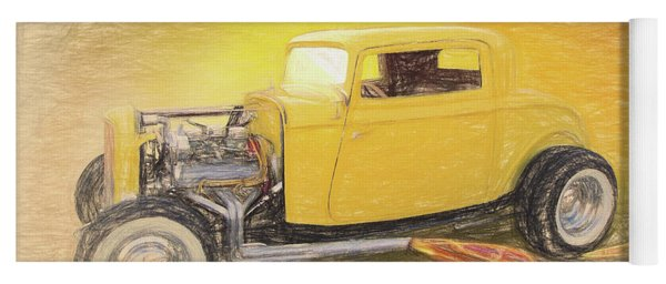 1932 Ford Coupe Yellow Yoga Mat