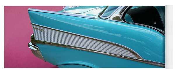 Yoga Mat featuring the photograph Turquoise 1957 Chevrolet Bel Air by Debi Dalio