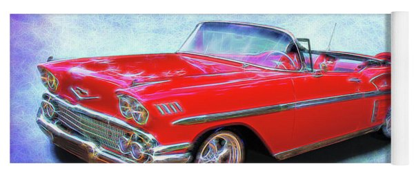 1958 Red Chevy Convertable Yoga Mat