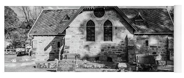 19th Century Sandstone Church In Black And White Yoga Mat