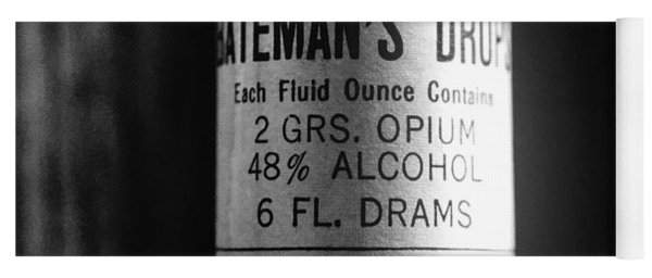 Antique Mccormick And Co Baltimore Md Bateman's Drops Opium Bottle Label - Black And White Yoga Mat