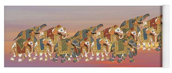 Caparisoned Elephants   Yoga Mat