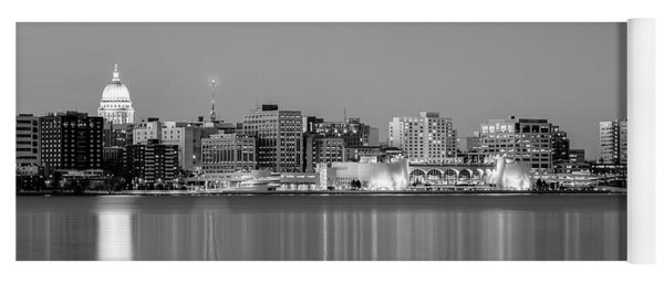 Madison Skyline In Black And White Yoga Mat