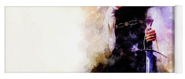 Medieval Sword In Woman Hand And Softly Blurred Watercolor Background. Yoga Mat