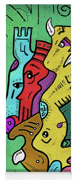 Yoga Mat featuring the digital art Psychedelic Animals by Sotuland Art