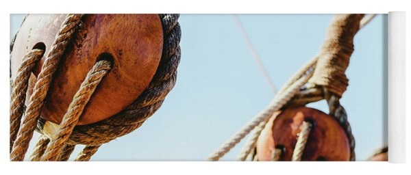 Rigging And Ropes On An Old Sailing Ship To Sail In Summer. Yoga Mat