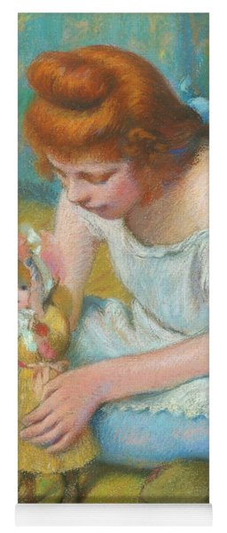 Young Girl Playing With A Doll Yoga Mat