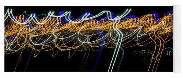 Colorful Light Painting With Circular Shapes And Abstract Black Background. Yoga Mat