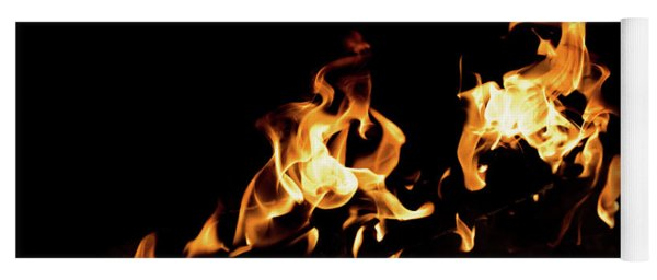 Flames In The Fire Of A Red And Yellow Barbecue. Yoga Mat