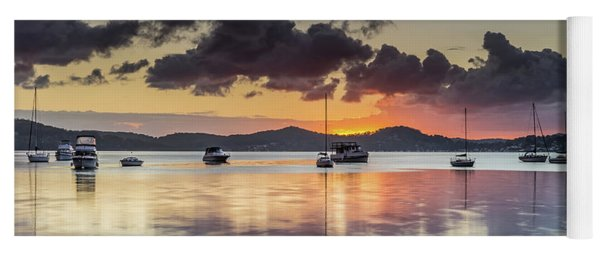 Overcast Morning On The Bay With Boats Yoga Mat