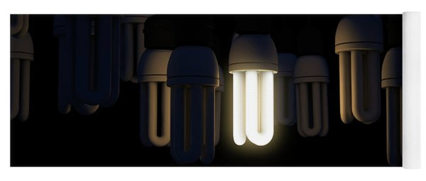 Single Light Bulb Illuminated In Collection Yoga Mat