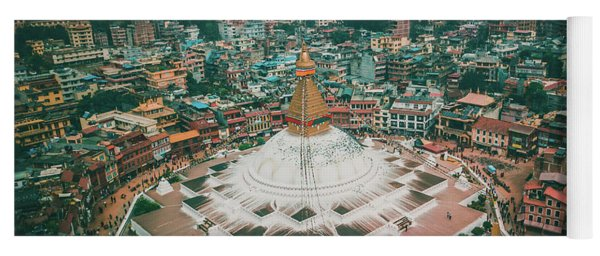 Stupa Temple Bodhnath Kathmandu, Nepal From Air October 12 2018 Yoga Mat