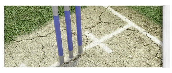 Cricket Pitch Ball And Wickets Yoga Mat