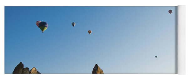 Colorful Balloons Flying Over Mountains And With Blue Sky Yoga Mat