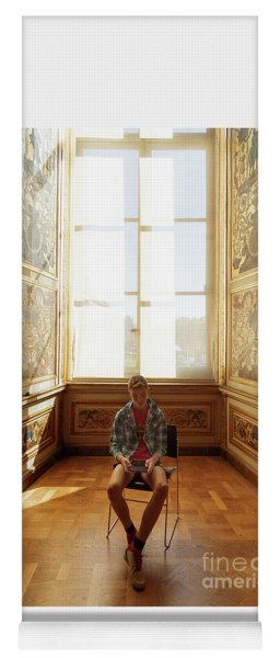 Yoga Mat featuring the photograph A Boy At The Louvre by Craig J Satterlee