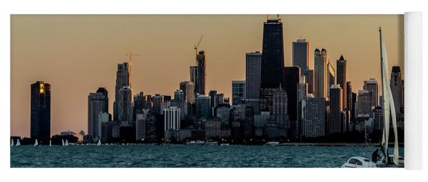 A Catamaran At Sunset In Front Of The Chicago Skyline Yoga Mat