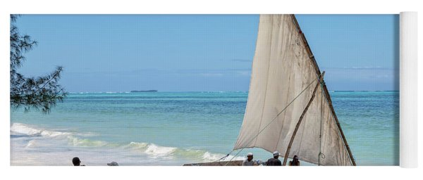 Yoga Mat featuring the photograph A Dhow In Zanzibar by Kay Brewer