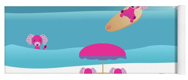 A Dog Family Surf Day Out Yoga Mat