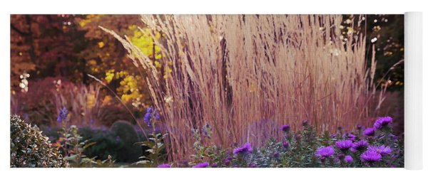A Flower Bed In The Autumn Park Yoga Mat
