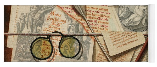 A Trompe L'oeil With Pince-nez, Pages From A Book And A Quill Pen Yoga Mat
